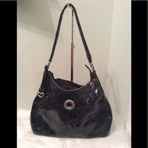 Brighton black patent leather hobo style purse.